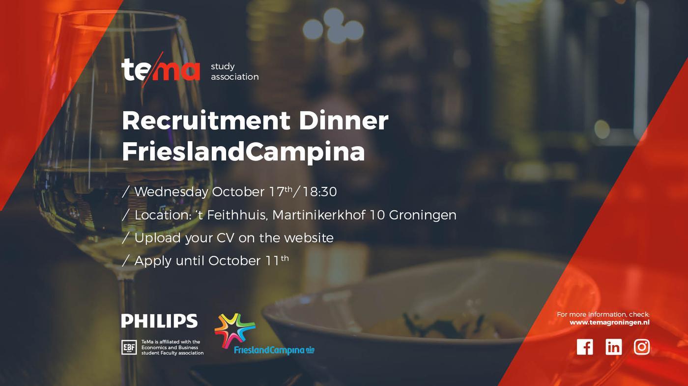 Recruitment Dinner FrieslandCampina